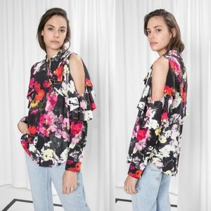 & Other Stories Frilled Cut Out Blouse